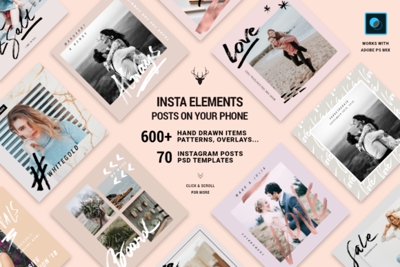 Print on Demand: InstaElements - Instagram Posts Kit Graphic Websites By SilverStag
