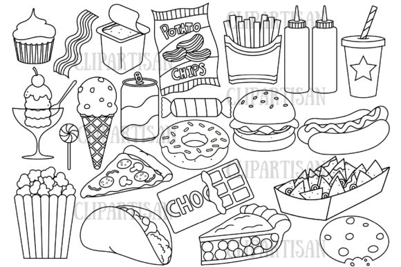 Junk Food Fast Food Graphic Coloring Pages & Books Kids By ClipArtisan