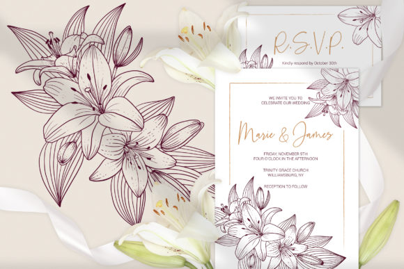 Download Free Lilies Wedding Invitation Template Cards Graphic By Pawstudio for Cricut Explore, Silhouette and other cutting machines.