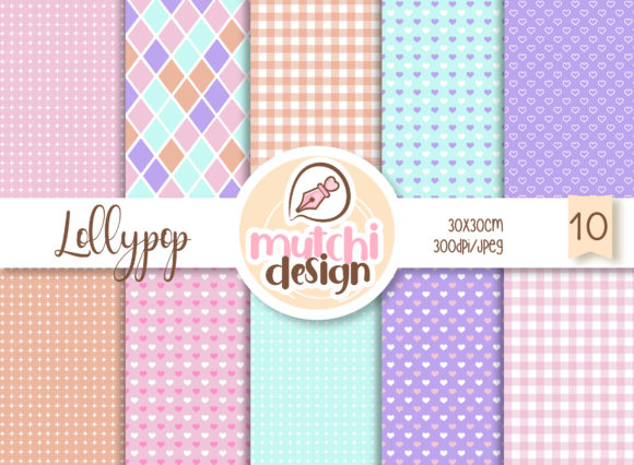 Print on Demand: Lollypop Digital Papers Graphic Backgrounds By Mutchi Design