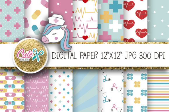 Medicine Digital Paper Graphic Textures By Cute files - Image 1
