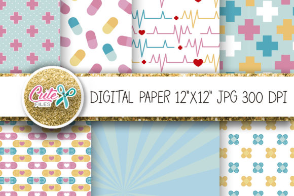 Medicine Digital Paper Graphic Textures By Cute files - Image 2