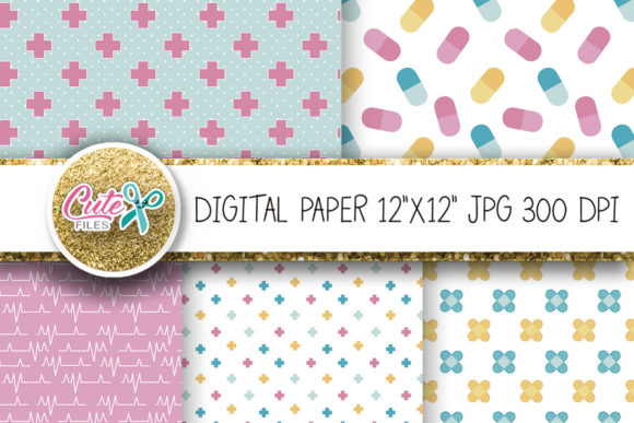 Medicine Digital Paper Graphic Textures By Cute files - Image 3