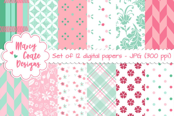 Mint & Pink Pattern Background Papers Graphic Backgrounds By MarcyCoateDesigns