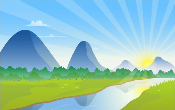 Download Free Mountain Scenery With River And Sunrise Graphic By Aghadhia for Cricut Explore, Silhouette and other cutting machines.