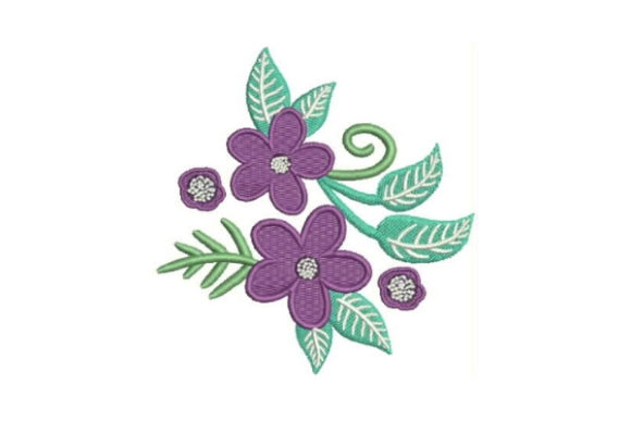 Purple Flower Embellishment Bouquets & Bunches Embroidery Design By Embroidery Designs