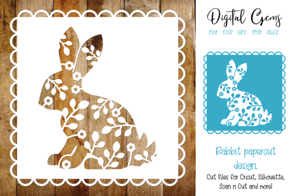 Rabbit Paper Cut Design Graphic By Digital Gems Creative Fabrica