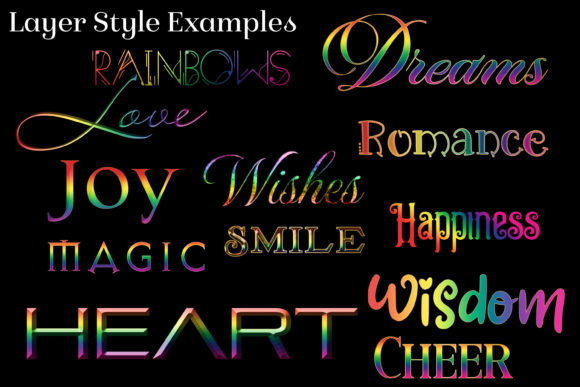 30 Rainbow Layer Styles for Photoshop Graphic Download