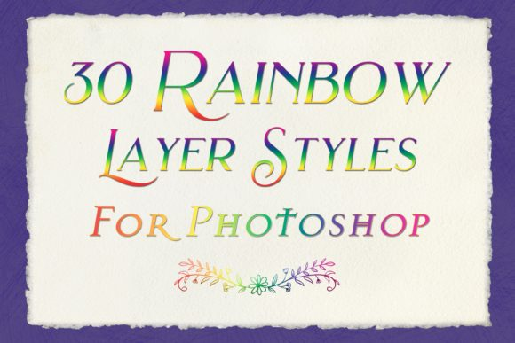 30 Rainbow Layer Styles for Photoshop Graphic Design