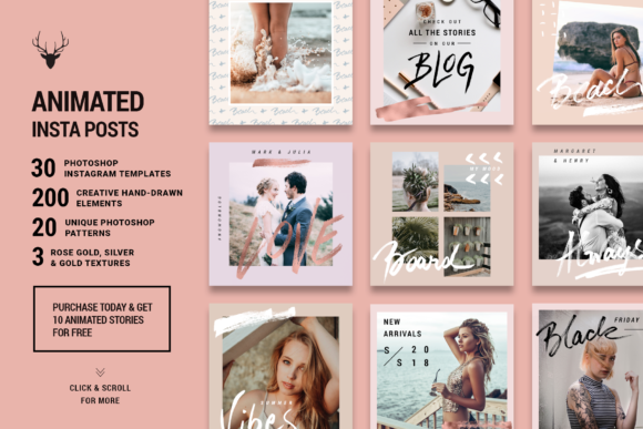 Print on Demand: Rose Gold ANIMATED Instagram Posts Graphic Websites By SilverStag