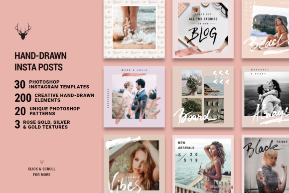 Print on Demand: Rose Gold Hand-Drawn Instagram Posts Graphic Web Elements By SilverStag