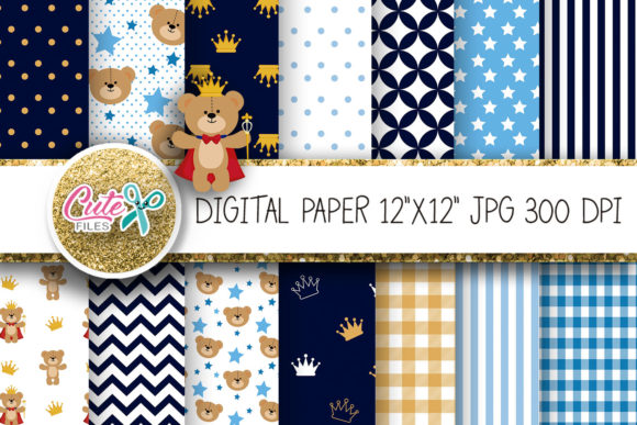 Royal Prince Teddy Bear Digital Paper Foil Graphic Textures By Cute files
