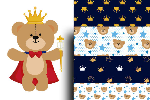 Royal Prince Teddy Bear Digital Paper Foil Graphic Textures By Cute files - Image 2