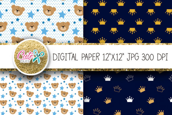 Download Free Royal Prince Teddy Bear Digital Paper Foil Graphic By Cute Files for Cricut Explore, Silhouette and other cutting machines.