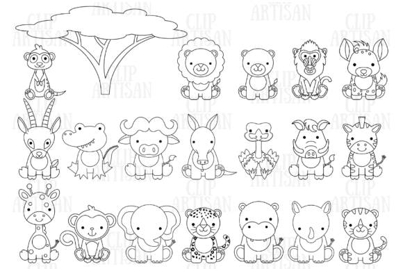 Safari Baby Animal Graphic Coloring Pages & Books Kids By ClipArtisan