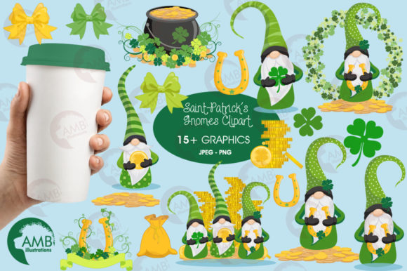 Saint-Patrick's Gnomes Clipart, AMB-2706 Graphic Illustrations By AMBillustrations