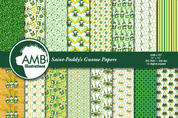 Saint-Patrick's Gnomes Patterns AMB-2707 Graphic Patterns By AMBillustrations - Image 1