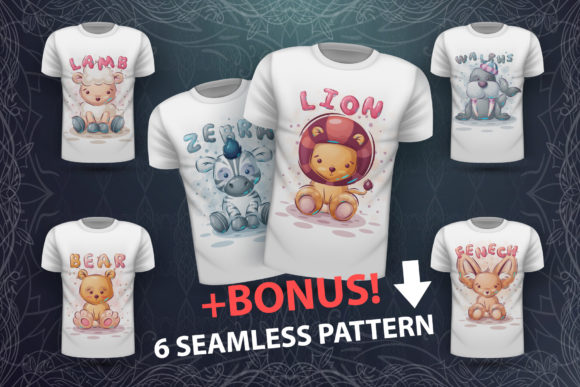 Print on Demand: Set Cute Animals - for Print T-shirt Graphic Illustrations By rwgusev