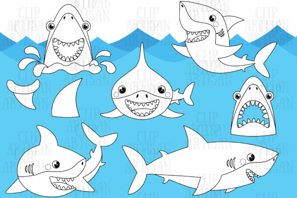 Sharks Graphic Coloring Pages & Books Kids By ClipArtisan