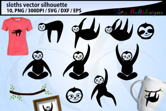 Download Free Sloth Silhouette Graphic By Arcs Multidesigns Creative Fabrica for Cricut Explore, Silhouette and other cutting machines.