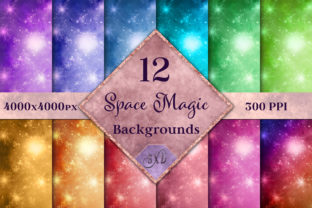 Print on Demand: Space Magic Backgrounds - 12 Image Set Graphic Backgrounds By SapphireXDesigns