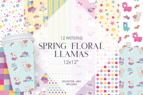 Print on Demand: Spring Floral Llamas Graphic Patterns By Prettygrafik - Image 1