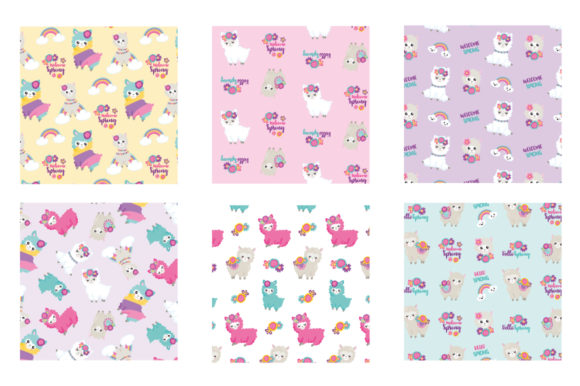 Print on Demand: Spring Floral Llamas Graphic Patterns By Prettygrafik - Image 3