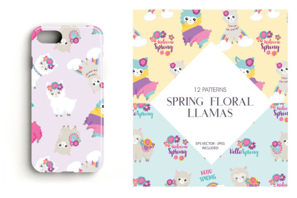 Print on Demand: Spring Floral Llamas Graphic Patterns By Prettygrafik - Image 4