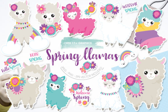 Print on Demand: Cute Spring Llamas Graphic Illustrations By Prettygrafik