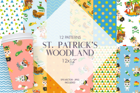 Print on Demand: St. Patrick's Woodland Graphic Patterns By Prettygrafik - Image 1