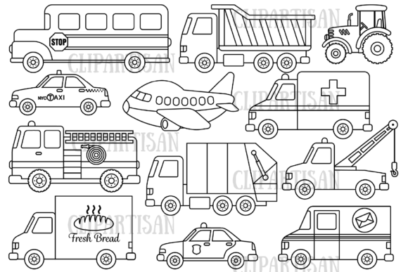 Transportation Graphic Coloring Pages & Books Kids By ClipArtisan - Image 1