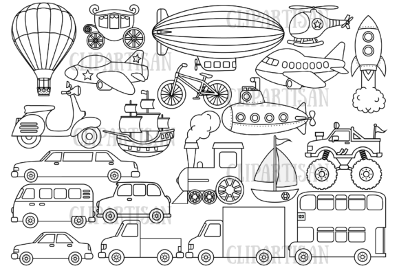 Transportation Vehicles Graphic Coloring Pages & Books Kids By ClipArtisan - Image 1