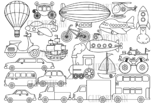Transportation Vehicles Graphic Coloring Pages & Books Kids By ClipArtisan