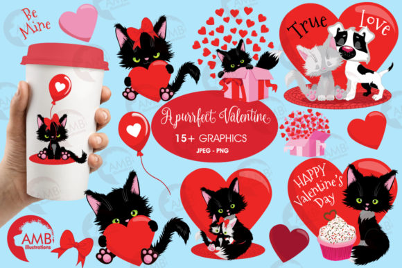 Valentine Cats Clipart AMB-2709 Graphic Illustrations By AMBillustrations