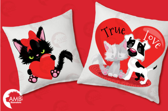 Valentine Cats Clipart AMB-2709 Graphic Illustrations By AMBillustrations - Image 3