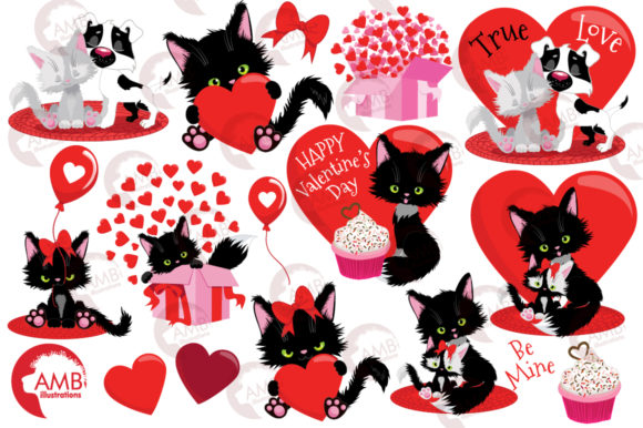 Valentine Cats Clipart AMB-2709 Graphic Illustrations By AMBillustrations - Image 4
