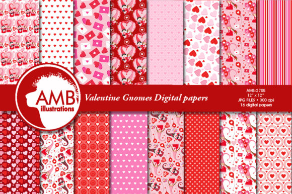 Valentine Gnome Paper AMB-2705 Graphic Patterns By AMBillustrations