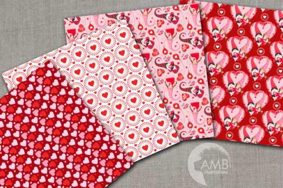 Valentine Gnome Paper AMB-2705 Graphic Patterns By AMBillustrations - Image 2