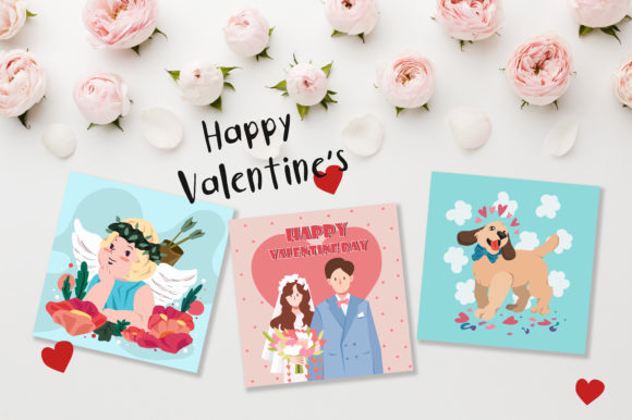 Print on Demand: Valentine's Day Cute Cards Graphic Illustrations By jannta