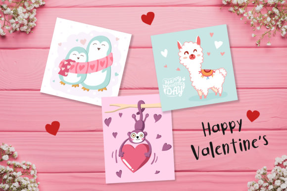Download Free Valentine S Day Cute Cards Graphic By Jannta Creative Fabrica for Cricut Explore, Silhouette and other cutting machines.