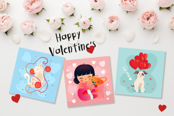Print on Demand: Valentine's Day Cute Cards Graphic Illustrations By jann