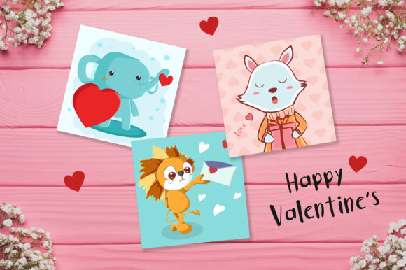 Print on Demand: Valentine's Day Cute Cards Graphic Illustrations By jann - Image 1
