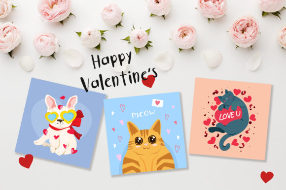 Print on Demand: Valentine's Day Cute Cards Gráfico Ilustraciones Por jannta