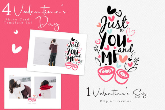 Print on Demand: Valentine's Day Photo Card Template Graphic Product Mockups By 3Motional