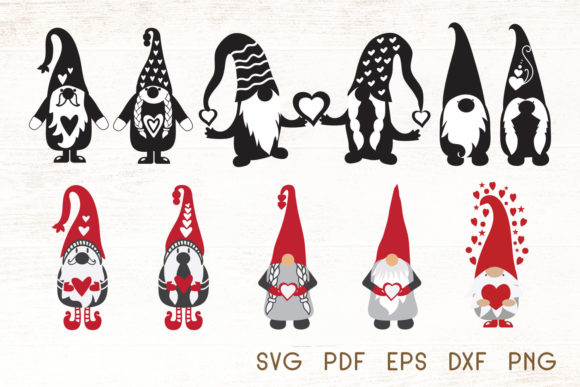 Download Free Valentines Gnomes Vector Graphic By Dasagani Creative Fabrica for Cricut Explore, Silhouette and other cutting machines.