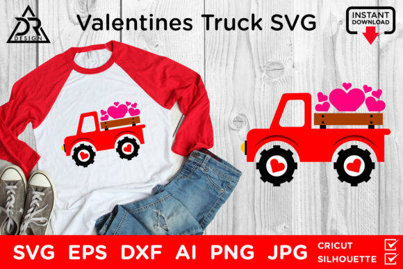 Download Free Valentines Truck Graphic By Davidrockdesign Creative Fabrica for Cricut Explore, Silhouette and other cutting machines.