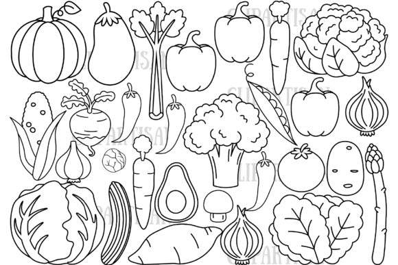 Vegetables Graphic Coloring Pages & Books Kids By ClipArtisan