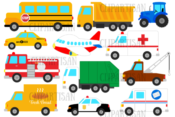 Vehicles Graphic Illustrations By ClipArtisan