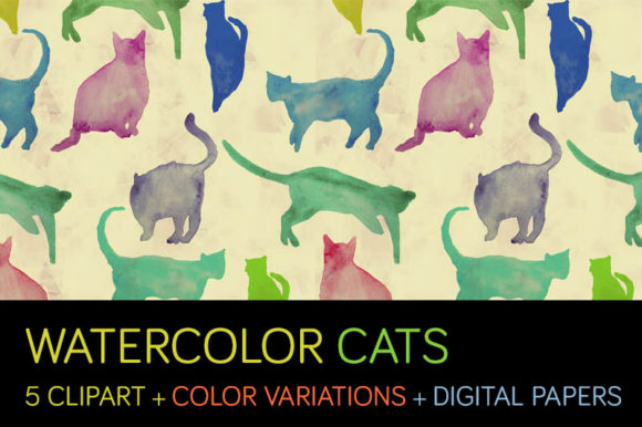 Print on Demand: Watercolor Cats Set: Rapports + Cliparts Graphic Illustrations By Milaski