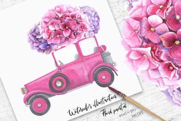 Watercolor Hydrangea Illustration Grafik Illustrationen von evgenia_art_art